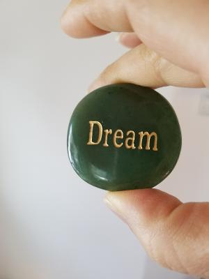 Word stone in Green Aventurine with DREAM on it