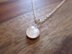 Rite of Passage Necklace- Round Moonstone on Sterling Silver Chain