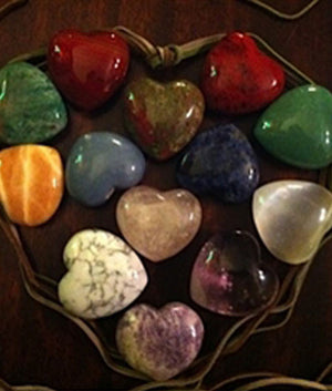 Bowl of Genuine Crystal Heart Stones