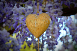 Yellow Heart with Purple flowers