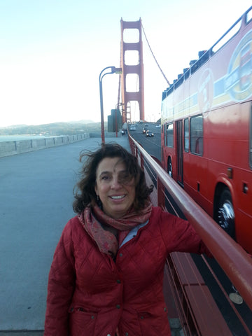 Catherine Crossing the Golden Gate Bridge