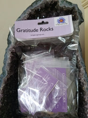 Bag of Gratitude Rocks inside Amethyst Crystal