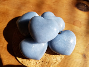angelite Heart stones - five