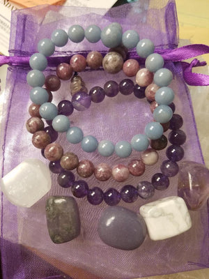 Relaxation Kit 3 Power Bracelets 5 tumbled stones
