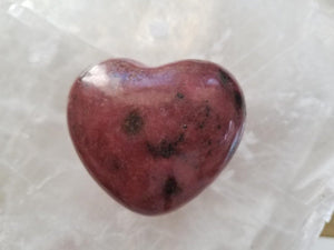Rhodonite Heart on Selenite Background