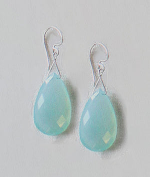 Twinkling Drop Earrings- Genuine Peruvian Opal (Chalcedony)
