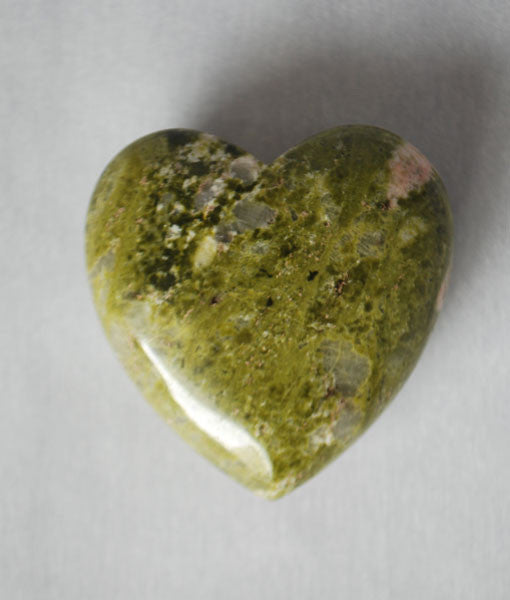 Genuine Unakite Heart Stone