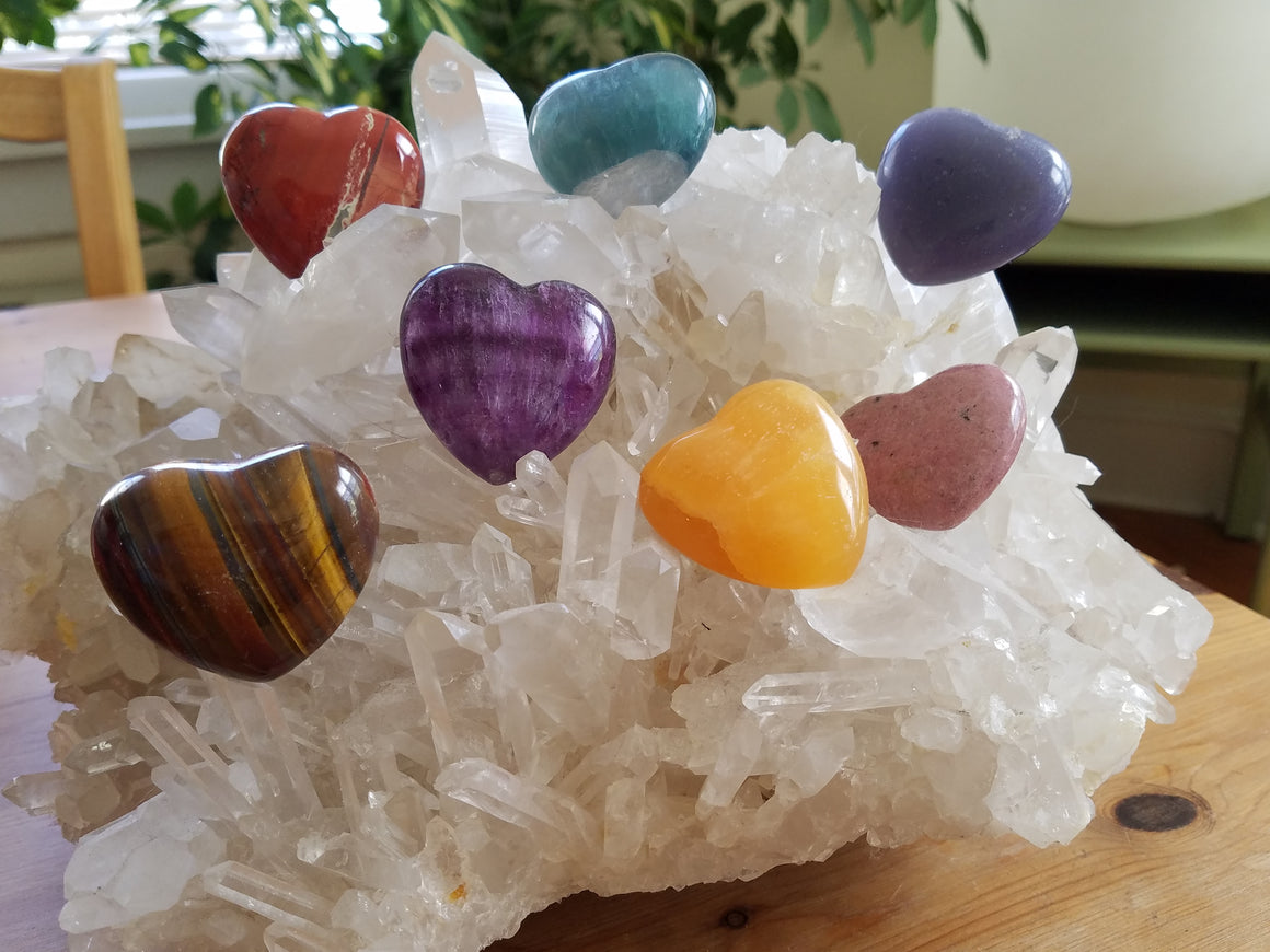 Heart Stones on Quartz Crystal