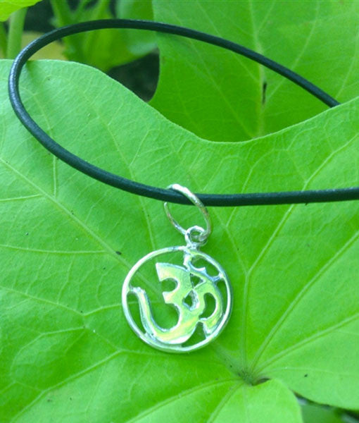 Sterling Silver OM Pendant on Leather Cord Necklace