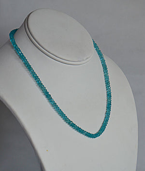Genuine Apatite Faceted Bead Necklace