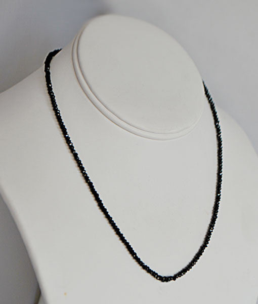 Genuine Black Garnet Faceted Bead Necklace