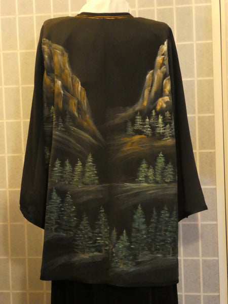hand painted silk duster one of a kind size large