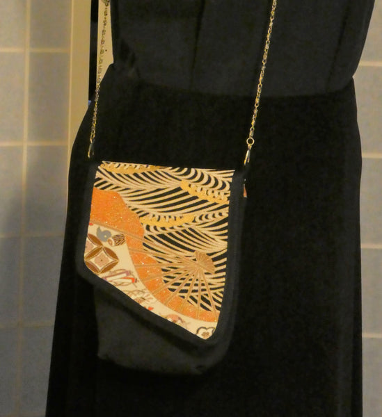 black and gold handmade pouch