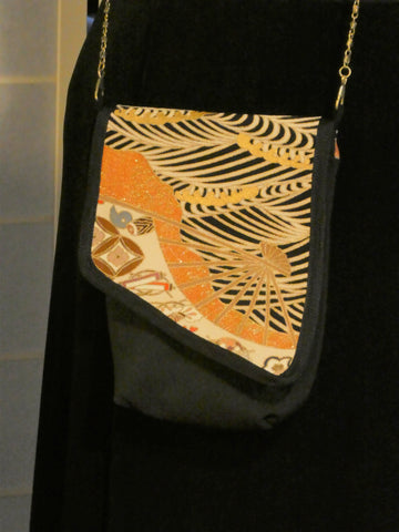 silk crossbody bag from Japanese kimono