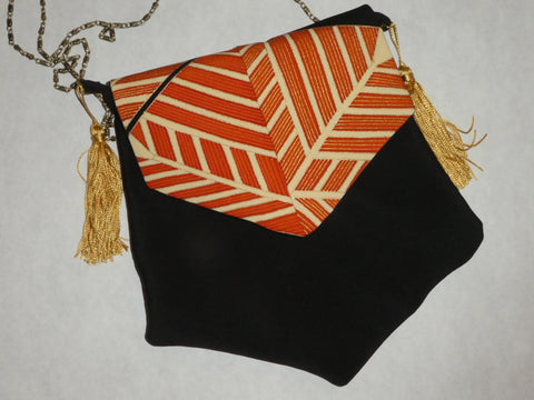 black silk crossbody bag