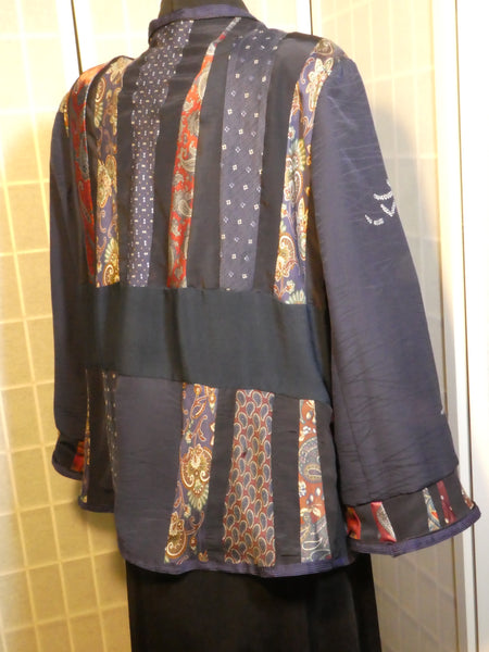 one of a kind boho patchwork silk jacket blue size large