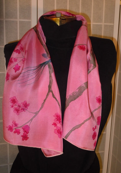 "Hand painted silk scarf ; ""cherry blossoms and birds""  #S177"