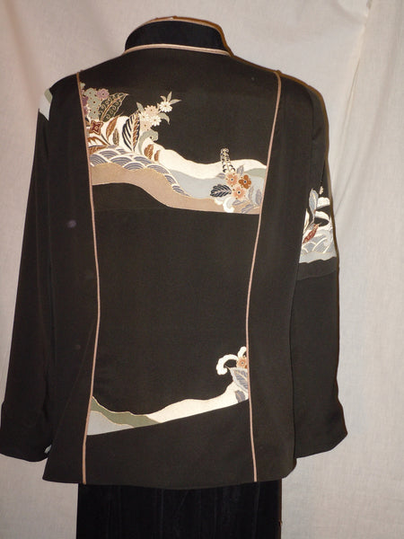 Black and tan silk blazer Asian art, size Large, Lined, #F20