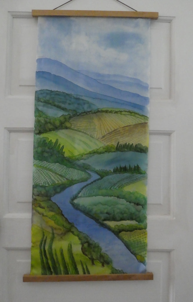 "Silk painting wall hanging ""Tuscan River"" original wall art on silk #W5"