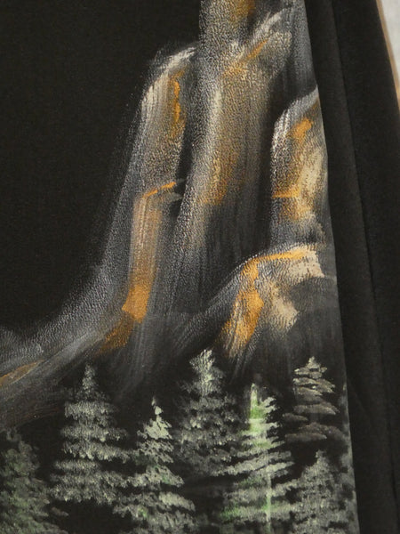 silk painting black jacket mountain landscape