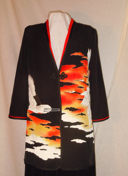 "Small loose jacket / duster from Japanese kimono ""sunset cranes""  #L34"