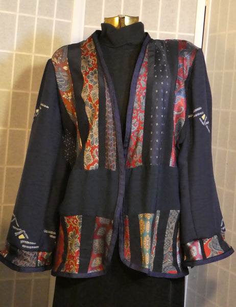 Silk patchwork jacket boho dark blue recycled silk ties and kimono silk L87