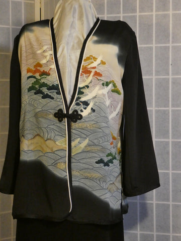 Mother of the Bride dressy silk jacket duster from Japanese kimono silk Size Medium #L80