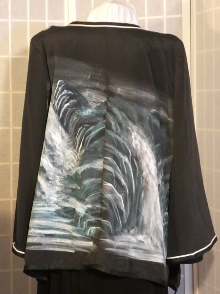 Hand painted silk jacket duster from Japanese kimono silk original art Size XXL #L83