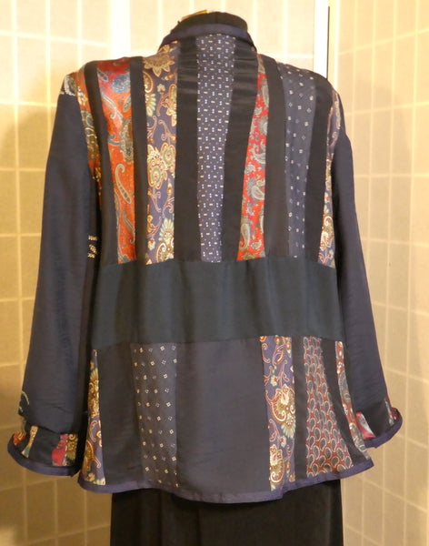 boho pieced patchwork silk jacket blue larg