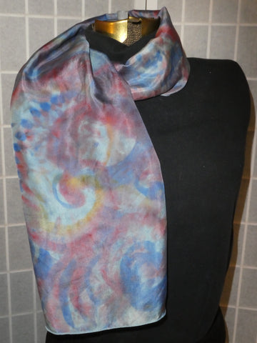 Silk scarf blue red yellow swirls hand dyed scarf #S191