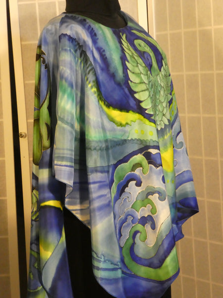 "Hand painted silk poncho ""Phoenix"" One size wearable art blue green #V17"