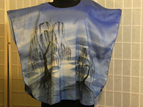"Hand painted silk poncho ""blue landscape"" One size wearable art #V16"
