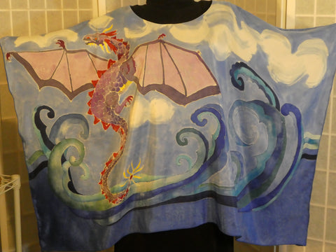 Hand painted dragon silk poncho One size wearable art #V15