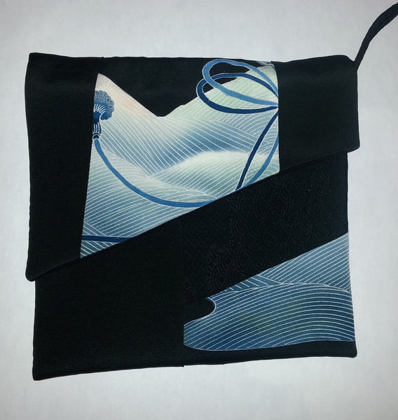 Black and blue silk tablet sleeve / clutch bag / ipad sleeve. Hand made from kimono silk #P10