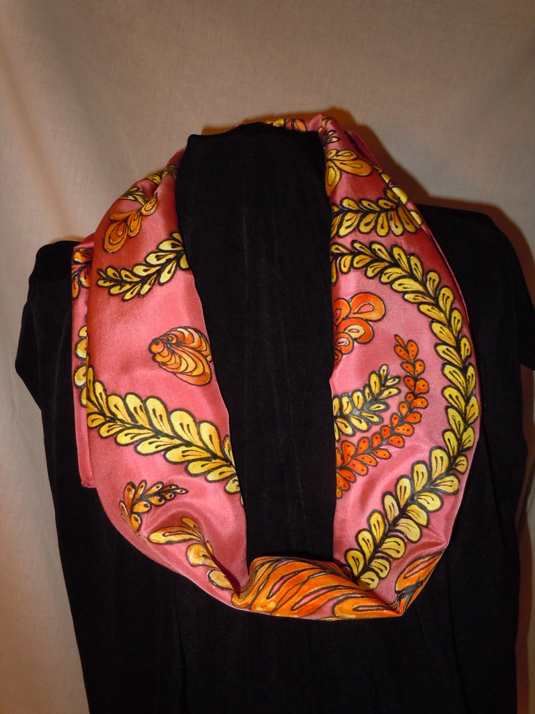 Silk scarf, hand painted, golden vines  #S53