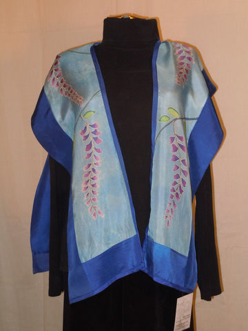 "Silk shawl ""wisteria"" hand painted one size silk tunic original design hand painted silk blue #V11"