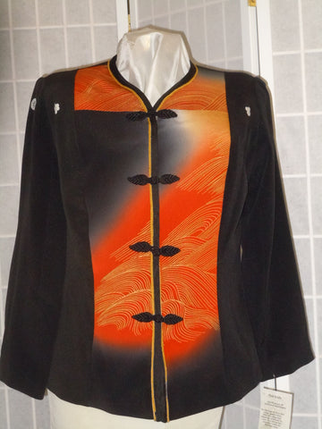 "Small black jacket ""sunset waves"" silk blazer from Japanese kimono special occasion #F62"