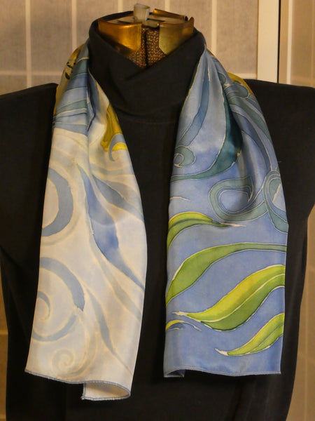 blue yellow white silk scarf hand dyed