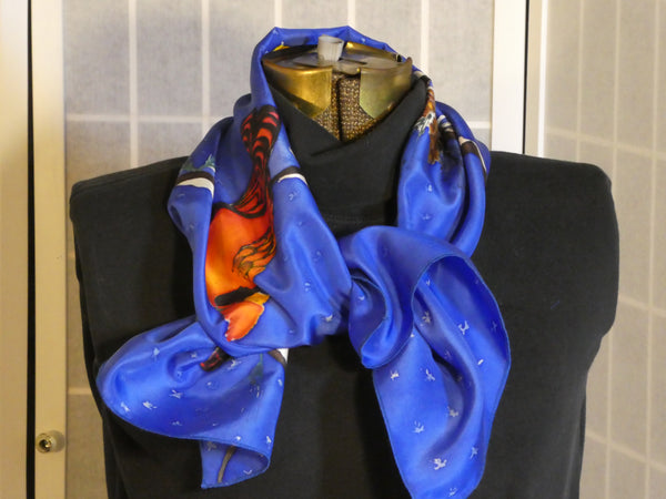 blue silk scarf winter birds