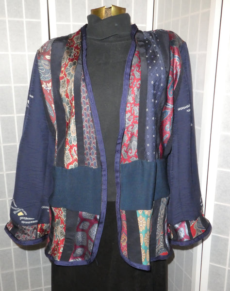 blue silk boho patchwork jacket large