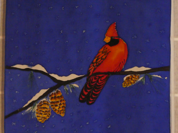 red cardinal silk scarf blue winter