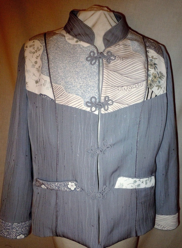 Large kimono silk jacket, gray and cream with Asian designs and embroidery #F10