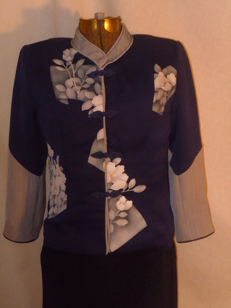 Blue and gray silk jacket from vintage kimono, Size Small. One of a Kind. #F48