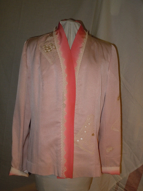 Silk jacket dusty rose from vintage Japanese kimono. Size medium. Hand embroidered  #F5