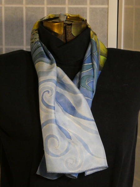 silk scarf hand painted blue white yellow