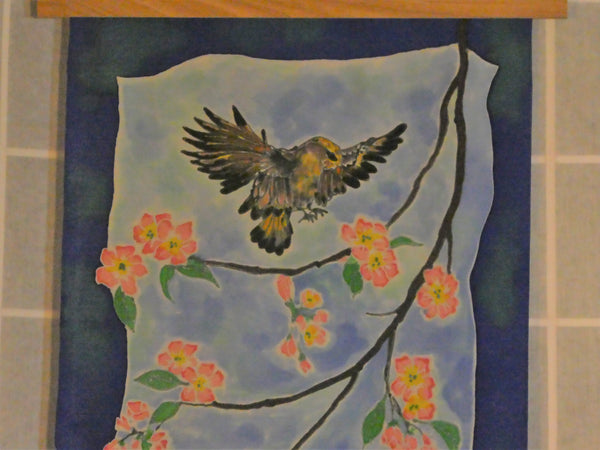 spring birds hand dyed wall hanging scarf silk blue multi