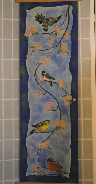 hand dyed silk painting birds blue
