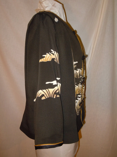 "Black silk XL jacket ""Asian Grass"" refashioned from Japanese kimono  #F37"