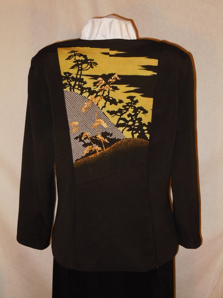 "Black Silk jacket ""Mountain Sunset"" from Japanese kimono. Size Medium.  #F46"
