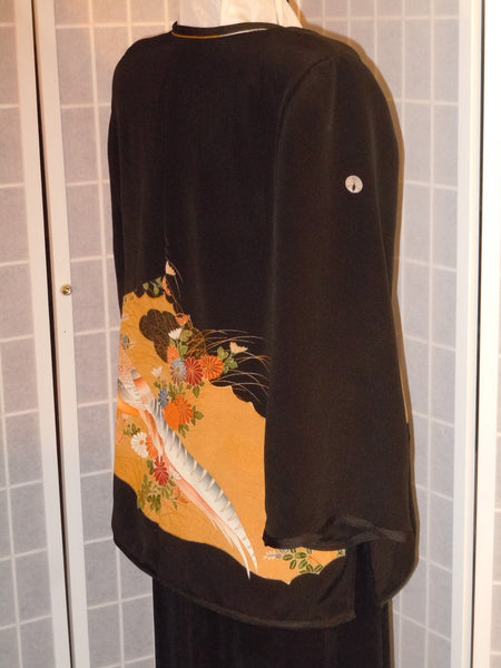 Silk jacket duster Size large kimono silk Embroidered birds Special occasion Mother of Bride  #L70